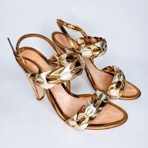 BCBG Maxazria Gold Silver Braided High Heels